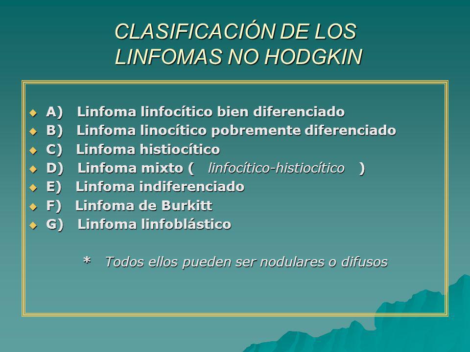 CLASIFICACIÓN DE LOS LINFOMAS NO HODGKIN A) Linfoma linfocítico bien diferenciado A) Linfoma linfocítico bien diferenciado B) Linfoma linocítico pobre