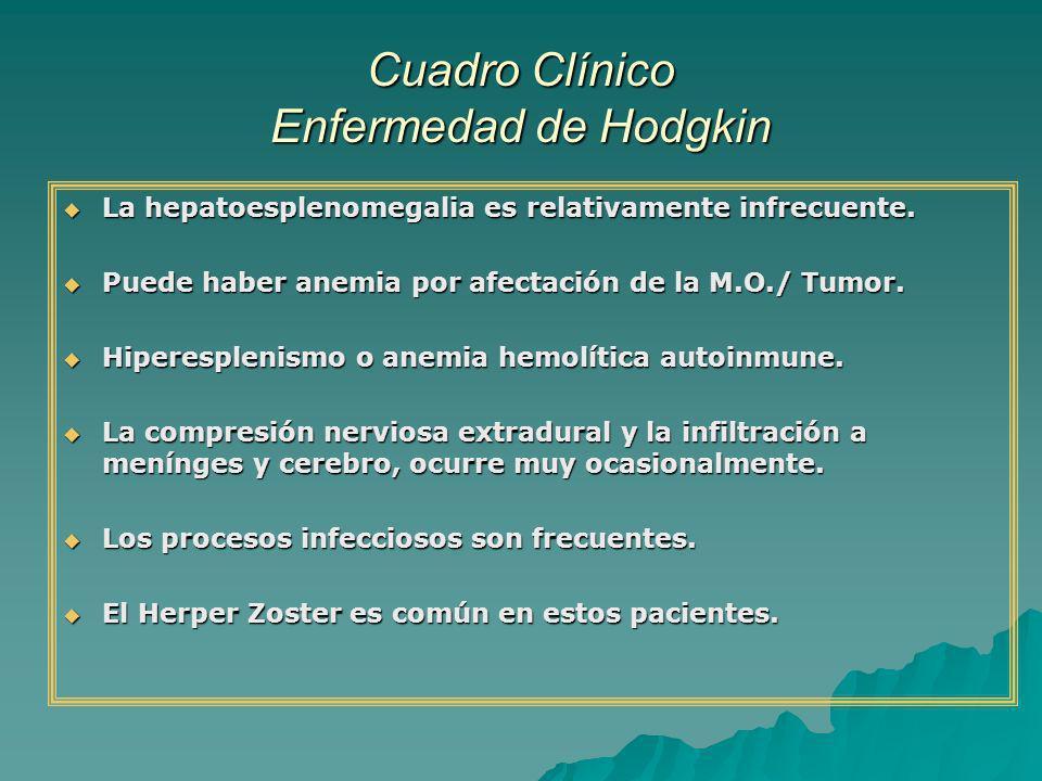 Cuadro Clínico Enfermedad de Hodgkin La hepatoesplenomegalia es relativamente infrecuente. La hepatoesplenomegalia es relativamente infrecuente. Puede