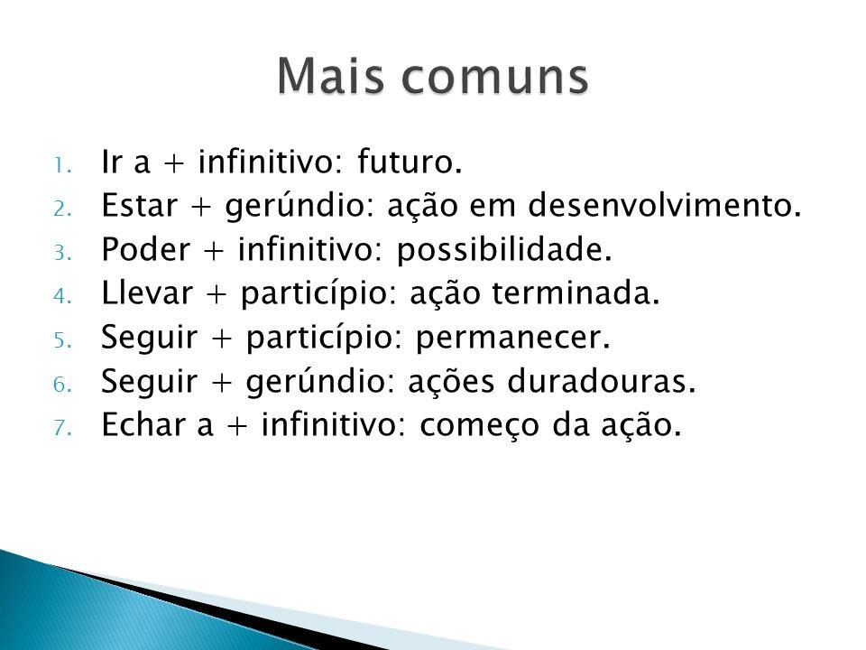 1. Ir a + infinitivo: futuro. 2. Estar + gerúndio: ação em desenvolvimento. 3. Poder + infinitivo: possibilidade. 4. Llevar + particípio: ação termina