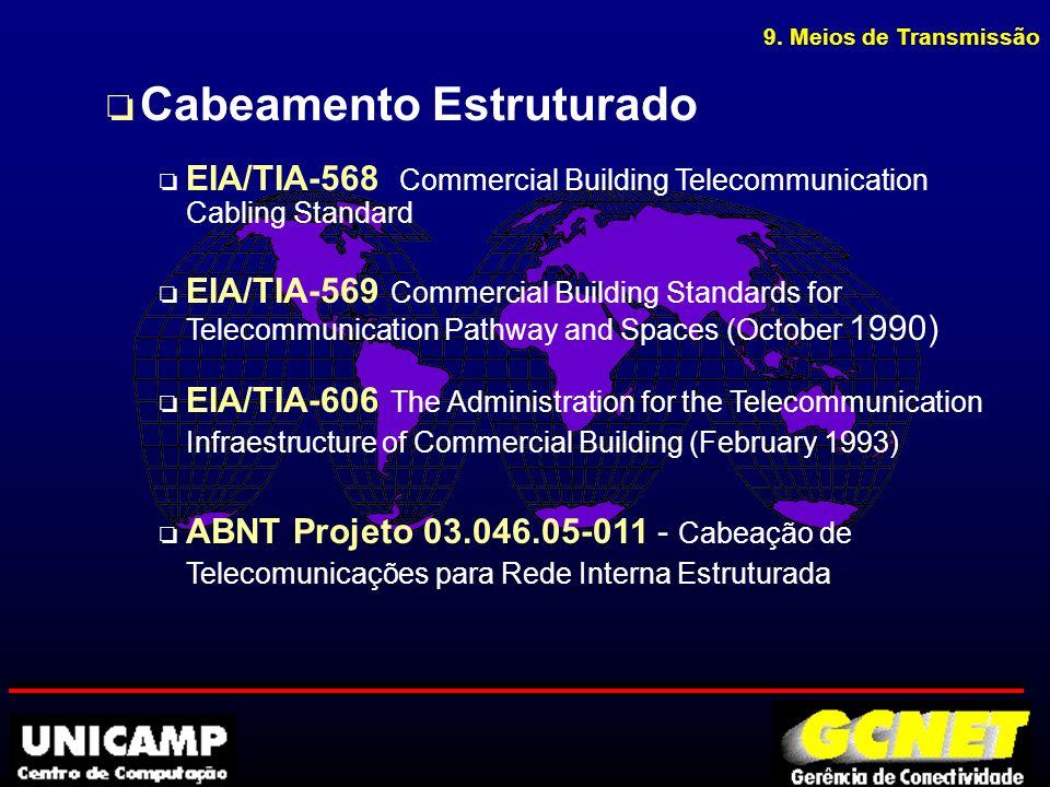 o Cabeamento Estruturado o EIA/TIA-568 Commercial Building Telecommunication Cabling Standard o EIA/TIA-569 Commercial Building Standards for Telecommunication Pathway and Spaces (October 1990) o EIA/TIA-606 The Administration for the Telecommunication Infraestructure of Commercial Building (February 1993) o ABNT Projeto 03.046.05-011 - Cabeação de Telecomunicações para Rede Interna Estruturada 9.