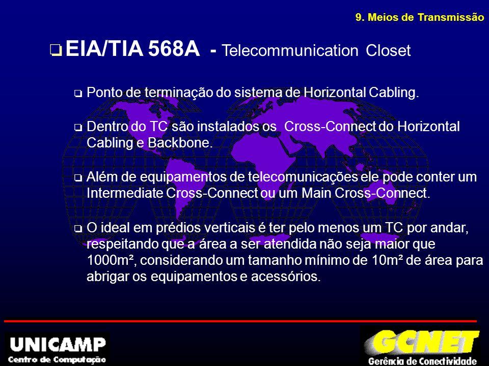 9. Meios de Transmissão o EIA/TIA 568A - Telecommunication Closet o Ponto de terminação do sistema de Horizontal Cabling. o Dentro do TC são instalado