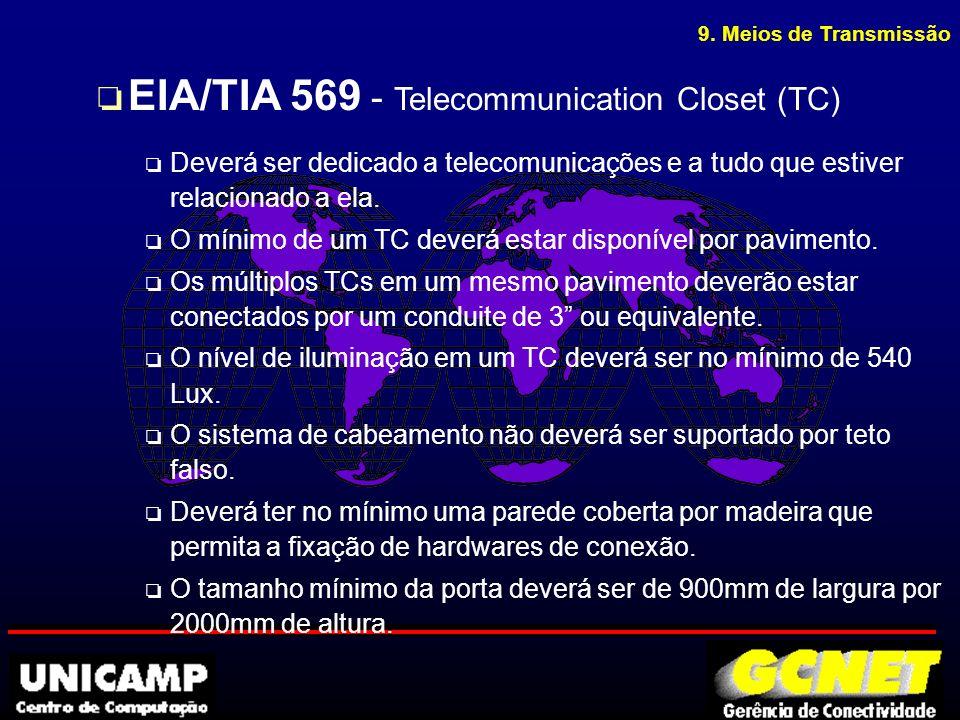 9. Meios de Transmissão o EIA/TIA 569 - Telecommunication Closet (TC) o Deverá ser dedicado a telecomunicações e a tudo que estiver relacionado a ela.