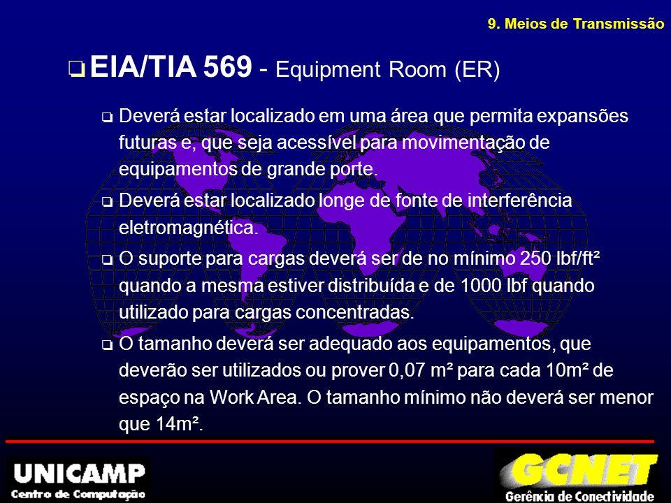 9. Meios de Transmissão o EIA/TIA 569 - Equipment Room (ER) o Deverá estar localizado em uma área que permita expansões futuras e, que seja acessível