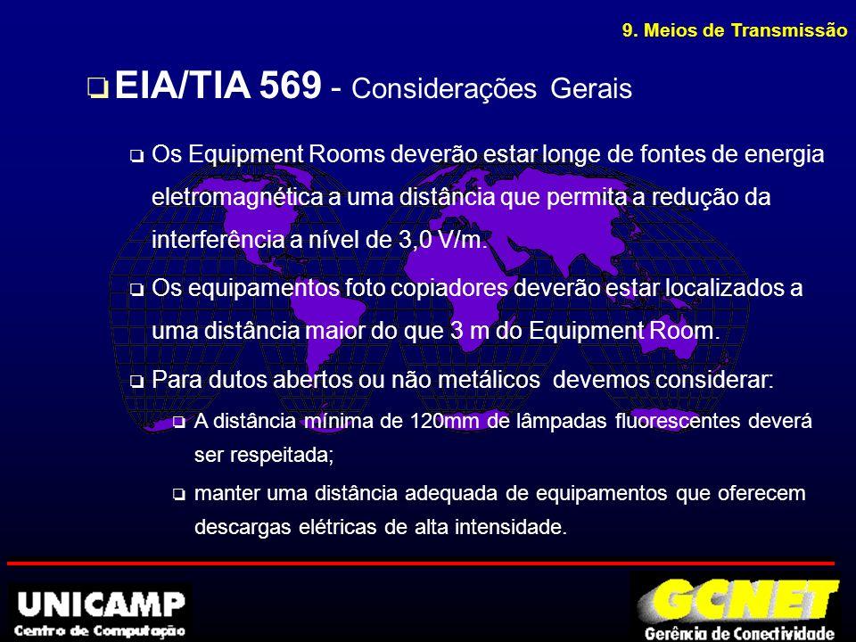 9. Meios de Transmissão o EIA/TIA 569 - Considerações Gerais o Os Equipment Rooms deverão estar longe de fontes de energia eletromagnética a uma distâ