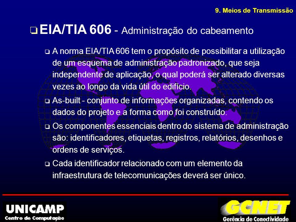 9. Meios de Transmissão o EIA/TIA 606 - Administração do cabeamento o A norma EIA/TIA 606 tem o propósito de possibilitar a utilização de um esquema d