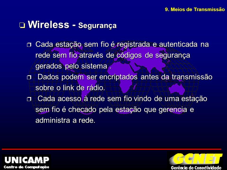 p Cada estação sem fio é registrada e autenticada na rede sem fio através de códigos de segurança gerados pelo sistema.