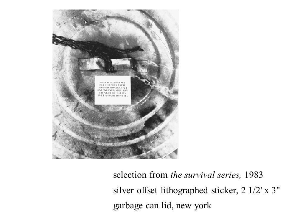 selection from the survival series, 1983 silver offset lithographed sticker, 2 1/2' x 3