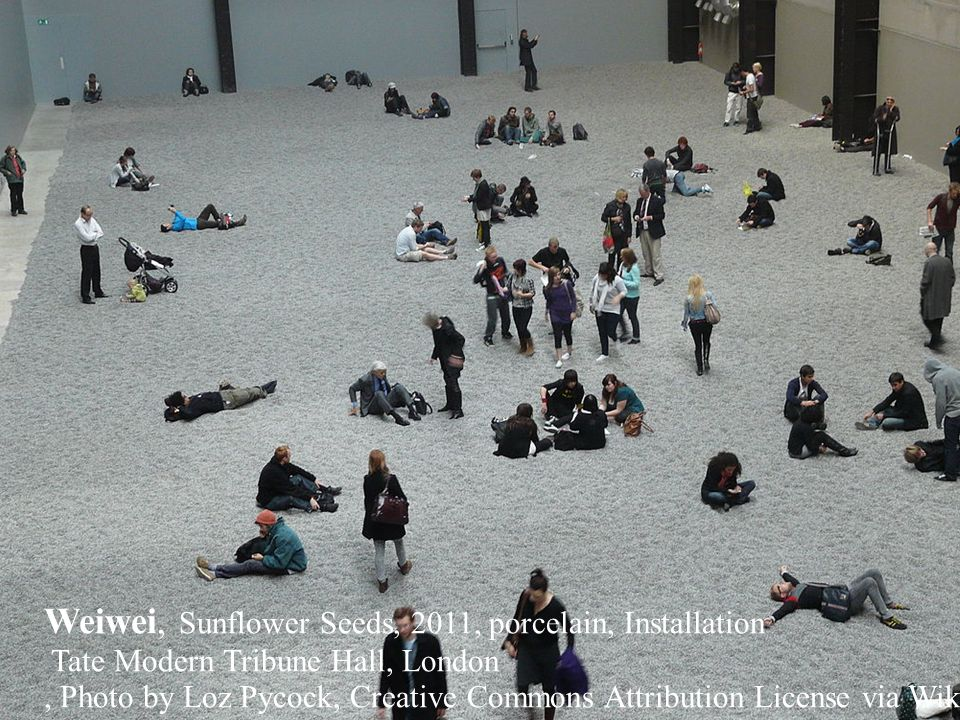 Weiwei, Sunflower Seeds, 2011, porcelain, Installation Tate Modern Tribune Hall, London, Photo by Loz Pycock, Creative Commons Attribution License via