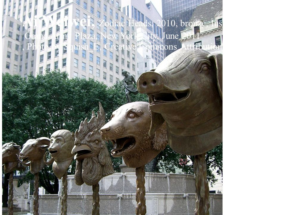 Ai Weiwei, Zodiac Heads, 2010, bronze, Installation in the Pulitzer Fountain, Grand Army Plaza, New York City, June 2011, Photo by Squish_E, Creative