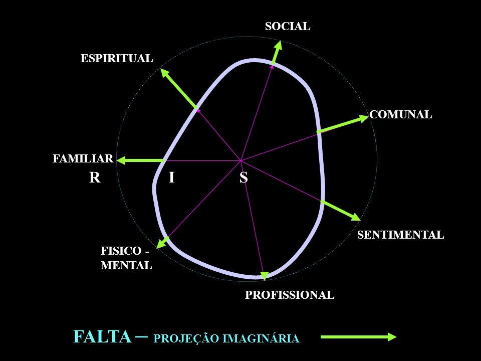 FALTA – PROJEÇÃO IMAGINÁRIA FAMILIAR PROFISSIONAL FISICO - MENTAL SENTIMENTAL SOCIAL ESPIRITUAL COMUNAL R I S