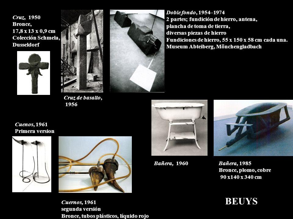 Bañera, 1985 Bronce, plomo, cobre 90 x140 x 340 cm Doble fondo, 1954–1974 2 partes; fundición de hierro, antena, plancha de toma de tierra, diversas p