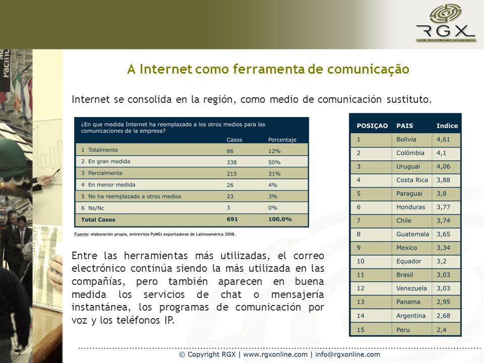 A Internet como ferramenta de comunicação Internet se consolida en la región, como medio de comunicación sustituto. Entre las herramientas más utiliza