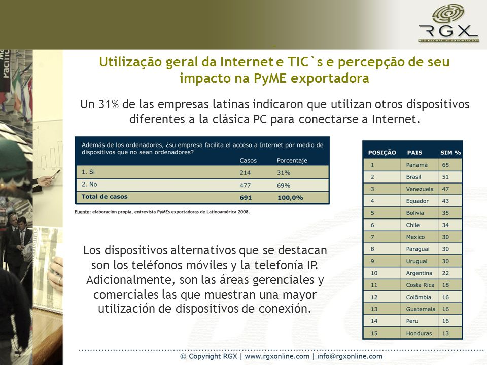 Internet como fonte de informação para os negócios internacionais Las PyMEs exportadoras utilizan la red para la búsqueda de información variada de negocios internacionales.