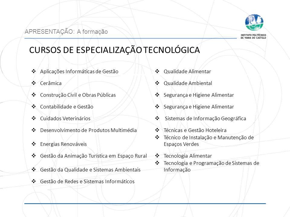 CURSOS DE ESPECIALIZAÇÃO TECNOLÓGICA APRESENTAÇÃO: A formação Aplicações Informáticas de Gestão Qualidade Alimentar Cerâmica Qualidade Ambiental Const