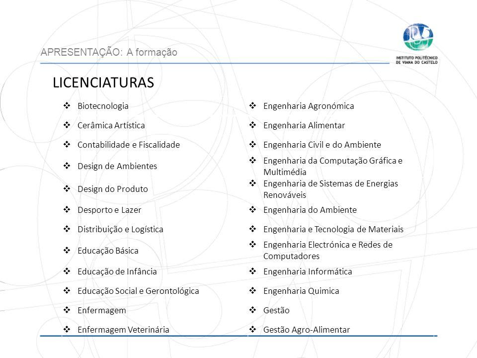 LICENCIATURAS APRESENTAÇÃO: A formação Biotecnologia Engenharia Agronómica Cerâmica Artística Engenharia Alimentar Contabilidade e Fiscalidade Engenha