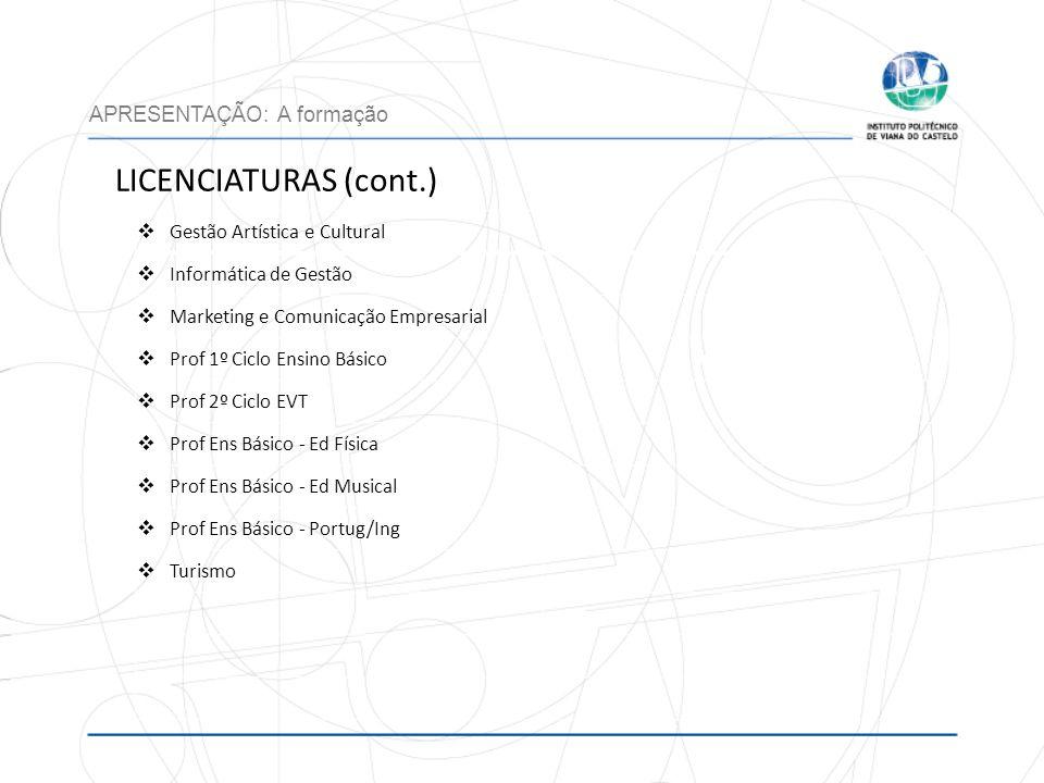 LICENCIATURAS (cont.) APRESENTAÇÃO: A formação Gestão Artística e Cultural Informática de Gestão Marketing e Comunicação Empresarial Prof 1º Ciclo Ens