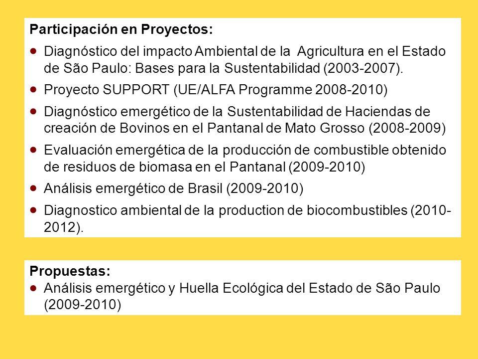 Participación en Proyectos: Diagnóstico del impacto Ambiental de la Agricultura en el Estado de São Paulo: Bases para la Sustentabilidad (2003-2007).