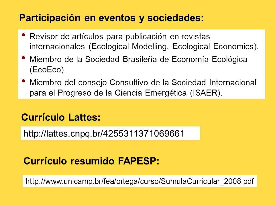 Participación en eventos y sociedades: Revisor de artículos para publicación en revistas internacionales (Ecological Modelling, Ecological Economics).