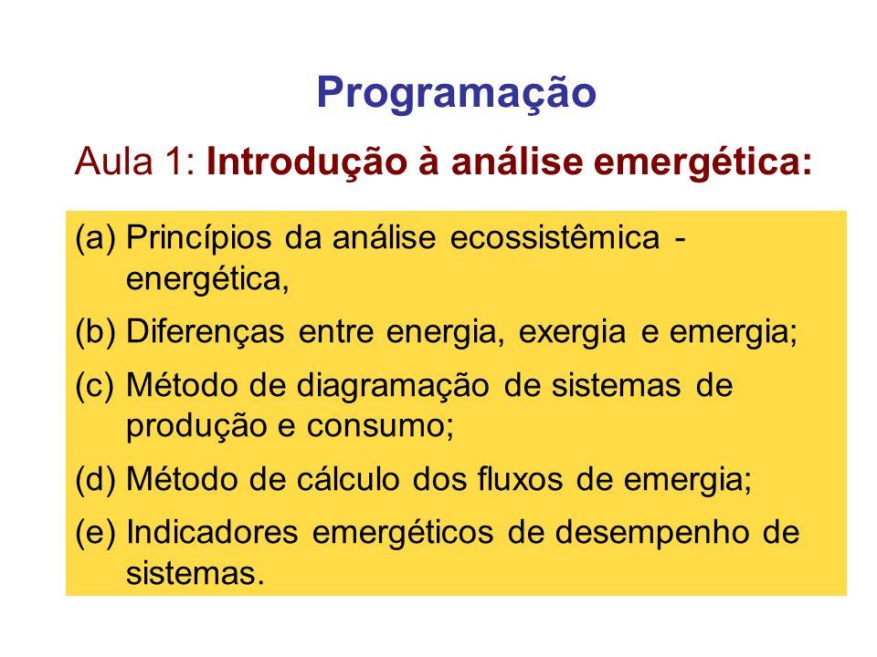 Programação Aula 1: Introdução à análise emergética: (a)Princípios da análise ecossistêmica - energética, (b)Diferenças entre energia, exergia e emerg
