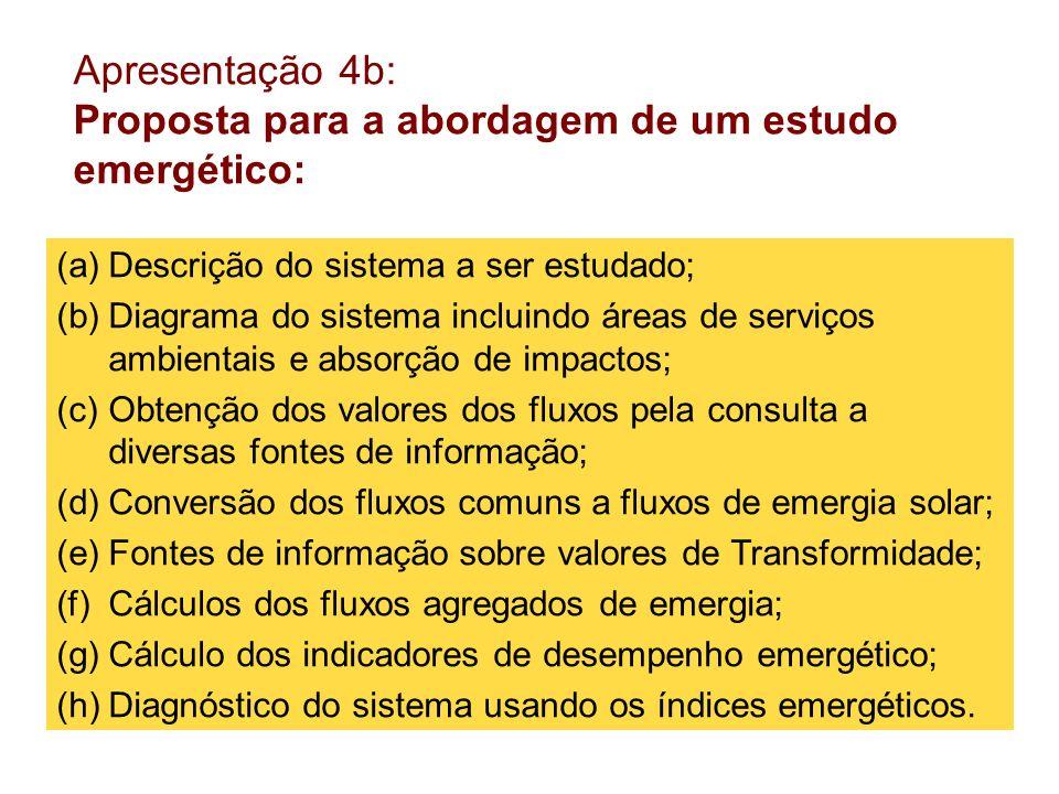 Apresentação 4b: Proposta para a abordagem de um estudo emergético: (a)Descrição do sistema a ser estudado; (b)Diagrama do sistema incluindo áreas de