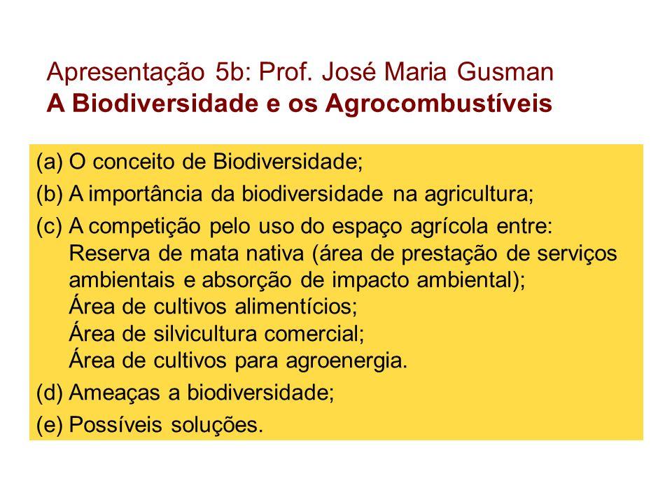 Apresentação 5b: Prof. José Maria Gusman A Biodiversidade e os Agrocombustíveis (a)O conceito de Biodiversidade; (b)A importância da biodiversidade na