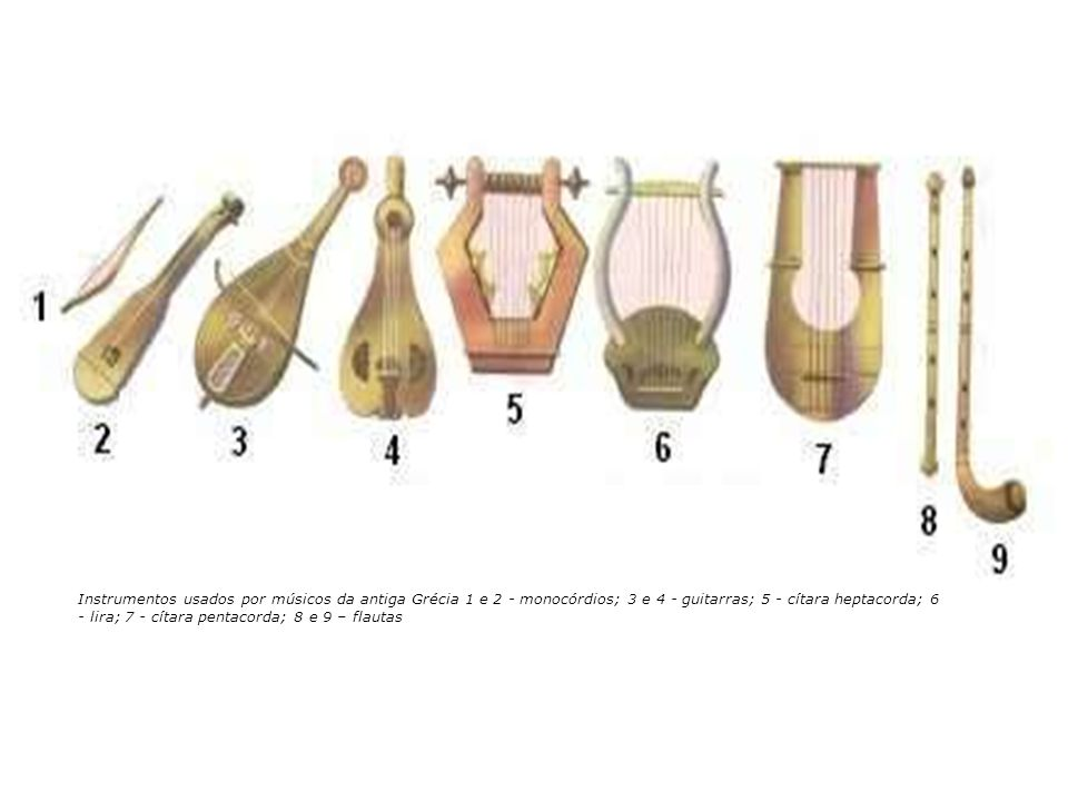 Instrumentos usados por músicos da antiga Grécia 1 e 2 - monocórdios; 3 e 4 - guitarras; 5 - cítara heptacorda; 6 - lira; 7 - cítara pentacorda; 8 e 9