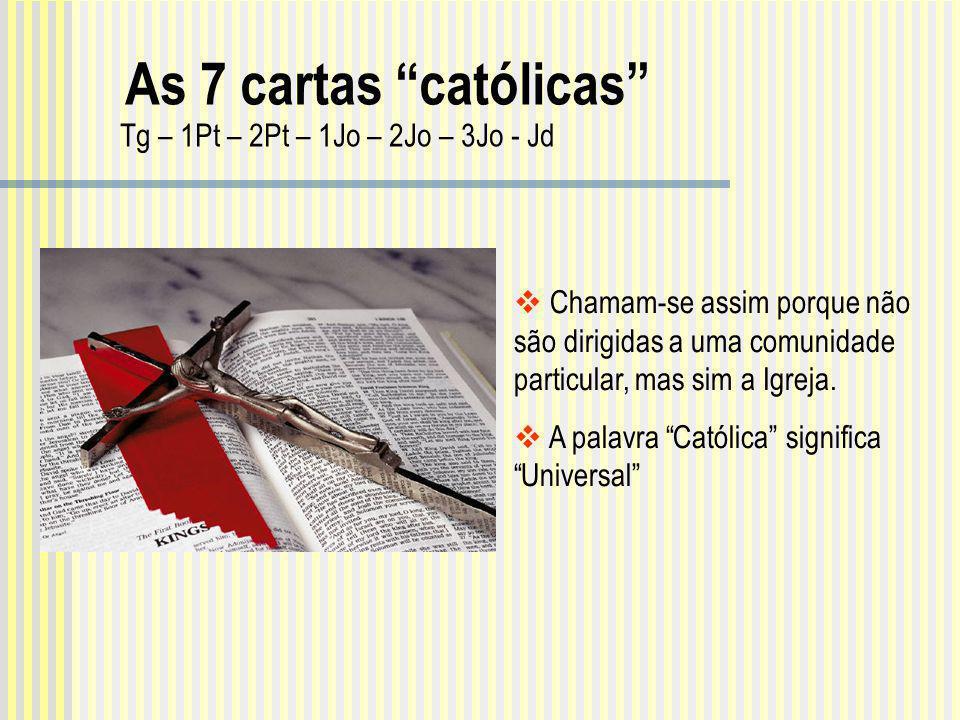 Chamam-se assim porque não são dirigidas a uma comunidade particular, mas sim a Igreja. A palavra Católica significa Universal Tg – 1Pt – 2Pt – 1Jo –