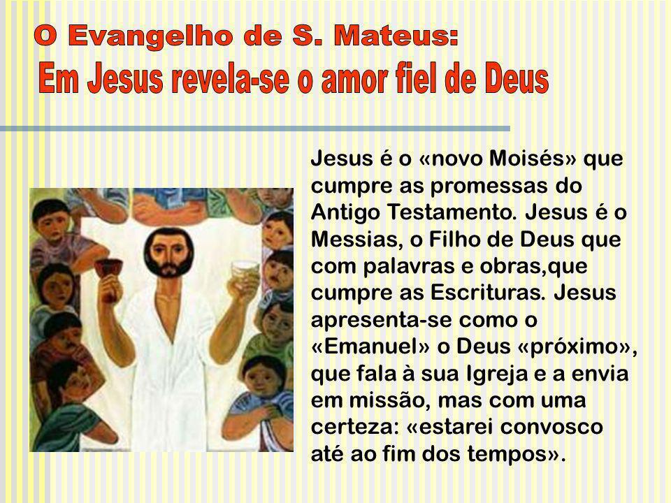Jesus é o «novo Moisés» que cumpre as promessas do Antigo Testamento. Jesus é o Messias, o Filho de Deus que com palavras e obras,que cumpre as Escrit