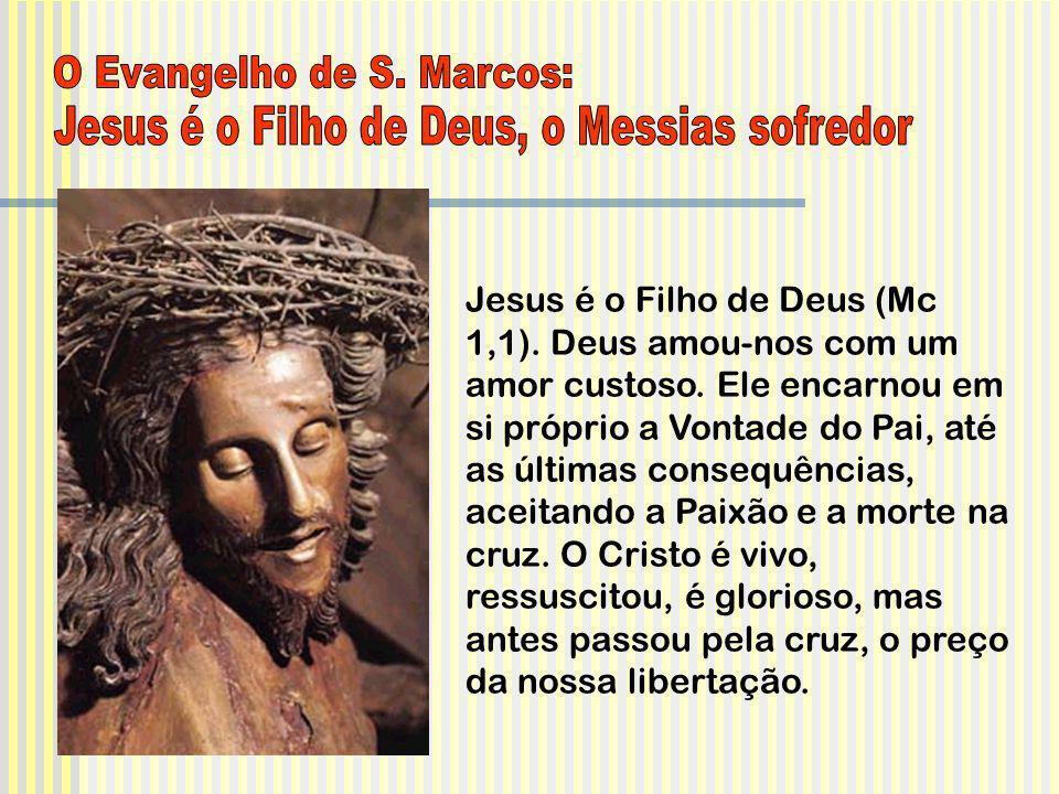 Jesus é o Filho de Deus (Mc 1,1). Deus amou-nos com um amor custoso. Ele encarnou em si próprio a Vontade do Pai, até as últimas consequências, aceita