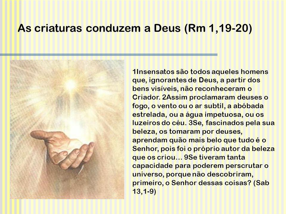 1Insensatos são todos aqueles homens que, ignorantes de Deus, a partir dos bens visíveis, não reconheceram o Criador. 2Assim proclamaram deuses o fogo