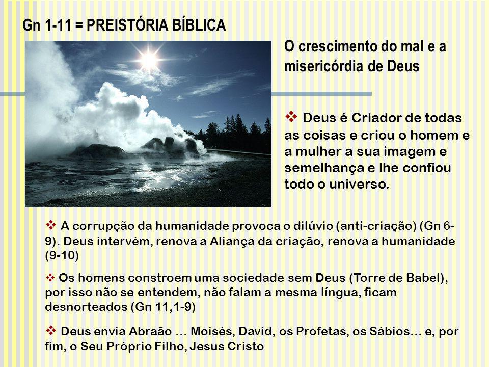 A corrupção da humanidade provoca o dilúvio (anti-criação) (Gn 6- 9). Deus intervém, renova a Aliança da criação, renova a humanidade (9-10) Os homens