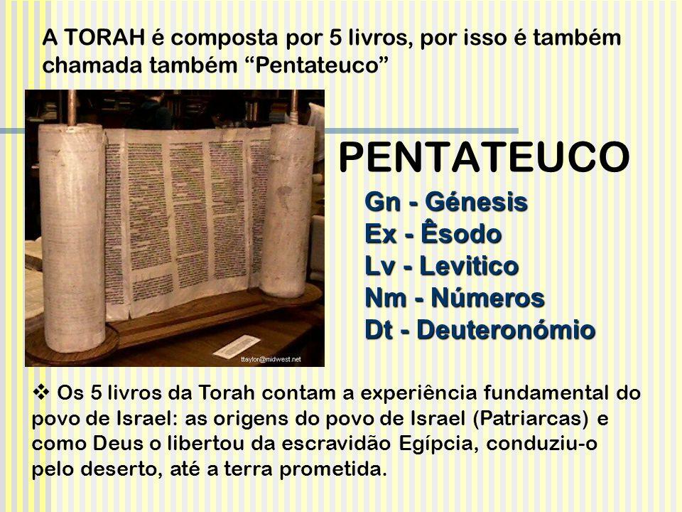 Gn - Génesis Ex - Êsodo Lv - Levitico Nm - Números Dt - Deuteronómio Os 5 livros da Torah contam a experiência fundamental do povo de Israel: as orige