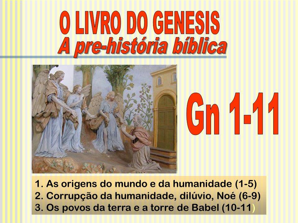 1. As origens do mundo e da humanidade (1-5) 2. Corrupção da humanidade, dilúvio, Noé (6-9) 3. Os povos da terra e a torre de Babel (10-11)