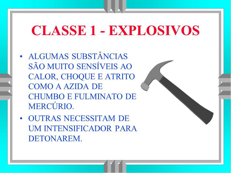 CLASSE 1 - EXPLOSIVOS ALGUMAS SUBSTÂNCIAS SÃO MUITO SENSÍVEIS AO CALOR, CHOQUE E ATRITO COMO A AZIDA DE CHUMBO E FULMINATO DE MERCÚRIO.