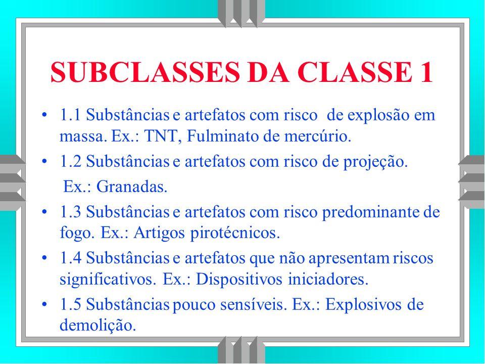 SUBCLASSES DA CLASSE 1 1.1 Substâncias e artefatos com risco de explosão em massa.