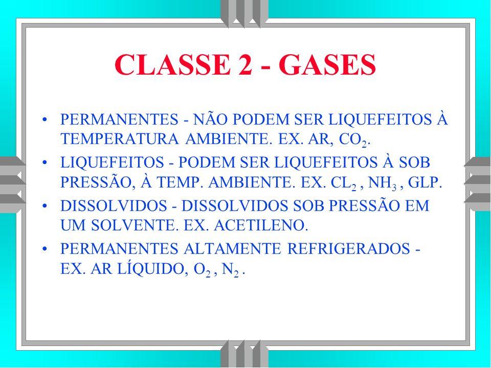 CLASSE 2 - GASES PERMANENTES - NÃO PODEM SER LIQUEFEITOS À TEMPERATURA AMBIENTE.