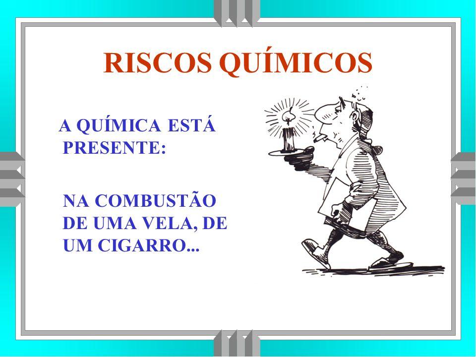 RISCOS QUÍMICOS A QUÍMICA ESTÁ PRESENTE: NA COMBUSTÃO DE UMA VELA, DE UM CIGARRO...