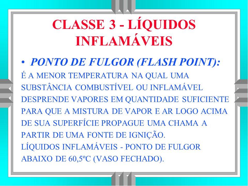 CLASSE 3 - LÍQUIDOS INFLAMÁVEIS PONTO DE FULGOR (FLASH POINT): É A MENOR TEMPERATURA NA QUAL UMA SUBSTÂNCIA COMBUSTÍVEL OU INFLAMÁVEL DESPRENDE VAPORES EM QUANTIDADE SUFICIENTE PARA QUE A MISTURA DE VAPOR E AR LOGO ACIMA DE SUA SUPERFÍCIE PROPAGUE UMA CHAMA A PARTIR DE UMA FONTE DE IGNIÇÃO.