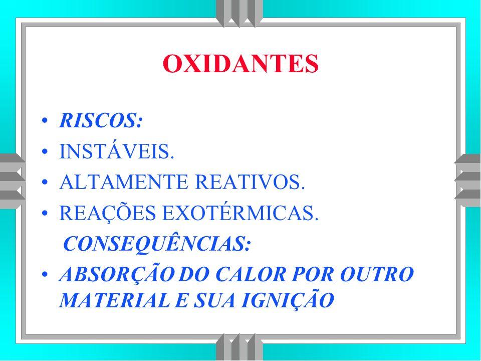 OXIDANTES RISCOS: INSTÁVEIS.ALTAMENTE REATIVOS. REAÇÕES EXOTÉRMICAS.