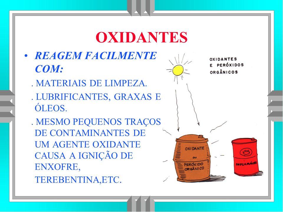 OXIDANTES REAGEM FACILMENTE COM:.MATERIAIS DE LIMPEZA..