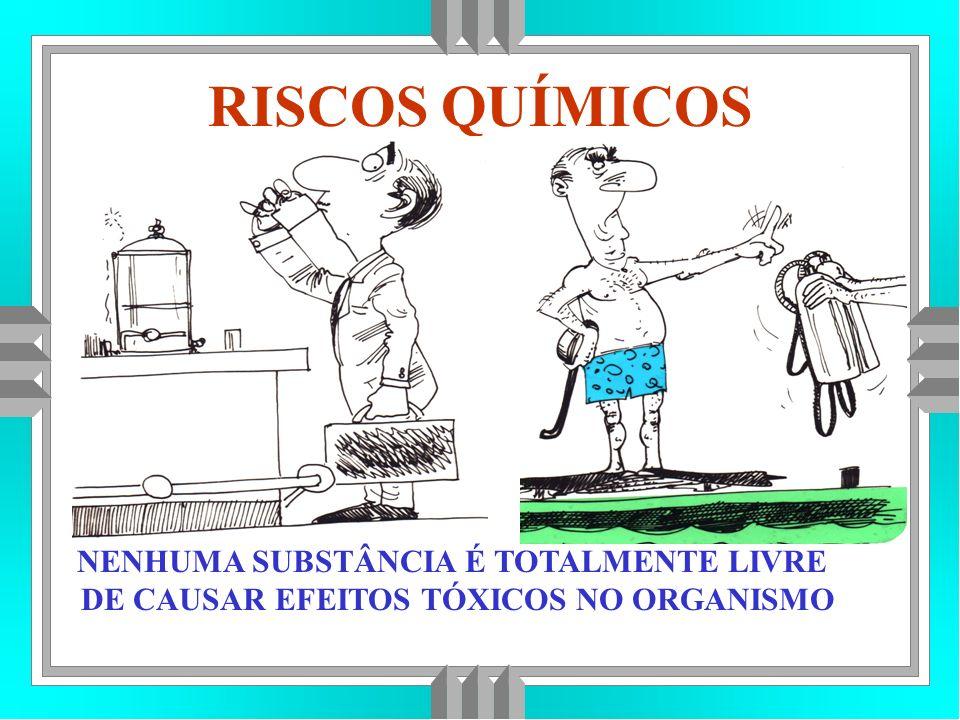 RISCOS QUÍMICOS NENHUMA SUBSTÂNCIA É TOTALMENTE LIVRE DE CAUSAR EFEITOS TÓXICOS NO ORGANISMO