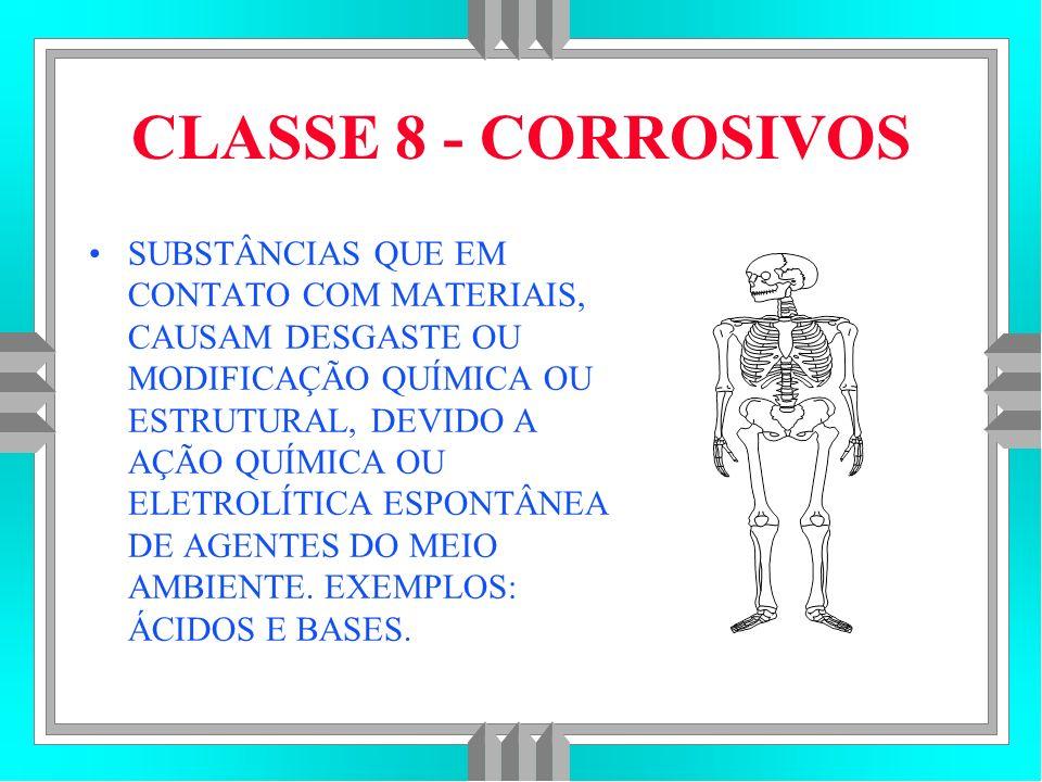 CLASSE 8 - CORROSIVOS SUBSTÂNCIAS QUE EM CONTATO COM MATERIAIS, CAUSAM DESGASTE OU MODIFICAÇÃO QUÍMICA OU ESTRUTURAL, DEVIDO A AÇÃO QUÍMICA OU ELETROLÍTICA ESPONTÂNEA DE AGENTES DO MEIO AMBIENTE.