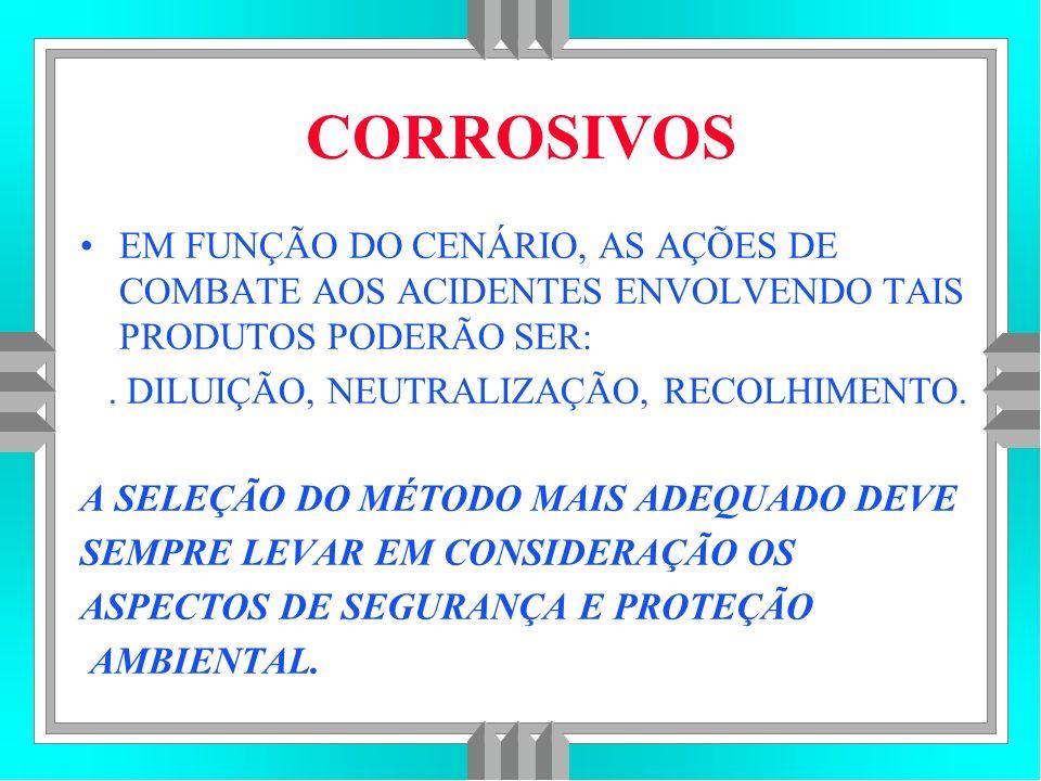 CORROSIVOS EM FUNÇÃO DO CENÁRIO, AS AÇÕES DE COMBATE AOS ACIDENTES ENVOLVENDO TAIS PRODUTOS PODERÃO SER:.