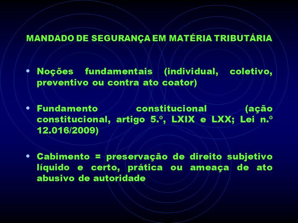 MANDADO DE SEGURANÇA EM MATÉRIA TRIBUTÁRIA Noções fundamentais (individual, coletivo, preventivo ou contra ato coator) Fundamento constitucional (ação