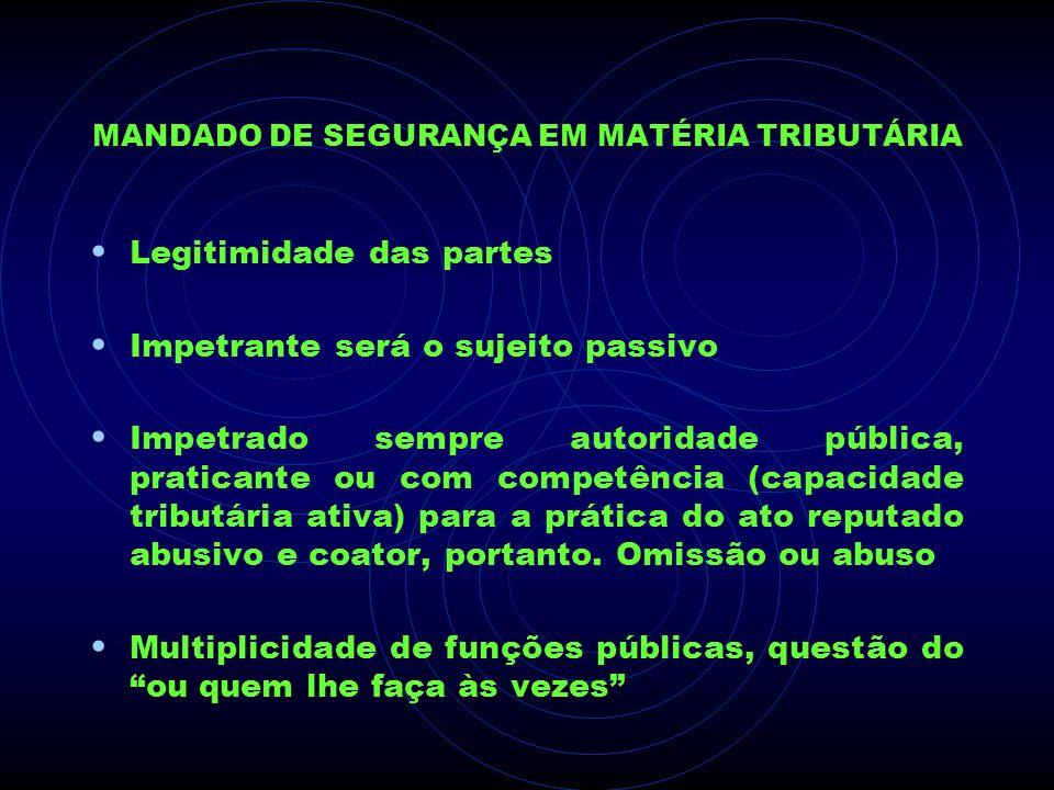 MANDADO DE SEGURANÇA EM MATÉRIA TRIBUTÁRIA Legitimidade das partes Impetrante será o sujeito passivo Impetrado sempre autoridade pública, praticante o