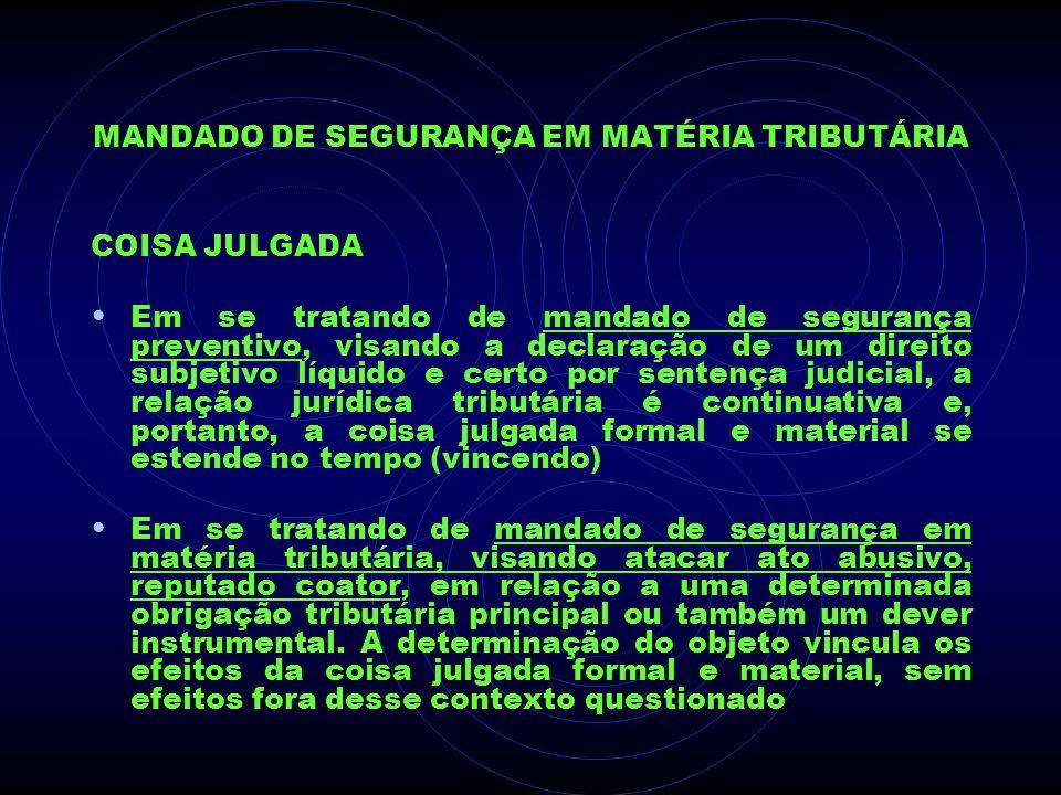 MANDADO DE SEGURANÇA EM MATÉRIA TRIBUTÁRIA COISA JULGADA Em se tratando de mandado de segurança preventivo, visando a declaração de um direito subjeti