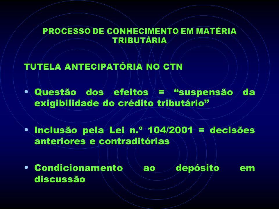 PROCESSO DE CONHECIMENTO EM MATÉRIA TRIBUTÁRIA TUTELA ANTECIPATÓRIA NO CTN Questão dos efeitos = suspensão da exigibilidade do crédito tributário Incl