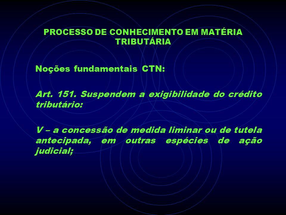 PROCESSO DE CONHECIMENTO EM MATÉRIA TRIBUTÁRIA Noções fundamentais CTN: Art. 151. Suspendem a exigibilidade do crédito tributário: V – a concessão de