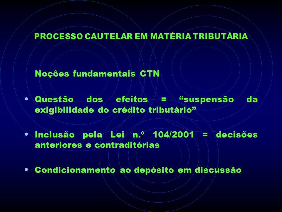 PROCESSO CAUTELAR EM MATÉRIA TRIBUTÁRIA Noções fundamentais CTN Questão dos efeitos = suspensão da exigibilidade do crédito tributário Inclusão pela L