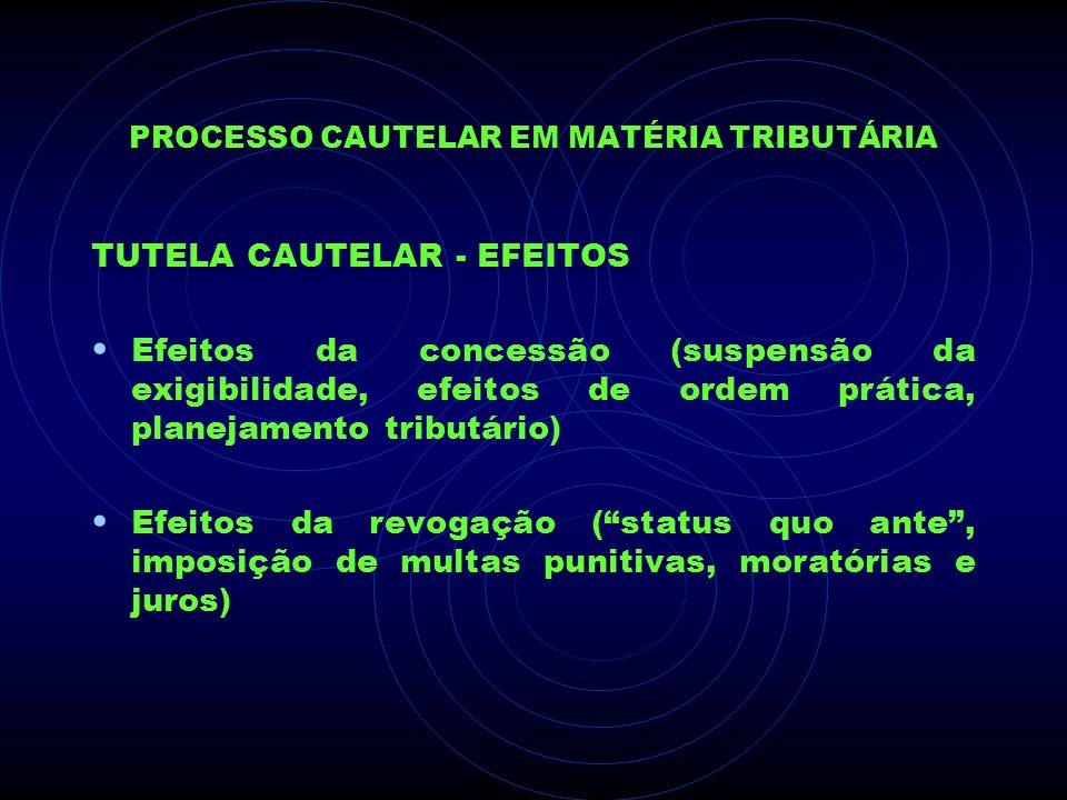 PROCESSO CAUTELAR EM MATÉRIA TRIBUTÁRIA TUTELA CAUTELAR - EFEITOS Efeitos da concessão (suspensão da exigibilidade, efeitos de ordem prática, planejam